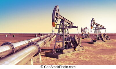 Oil Pumps working at the Pipeline in the desert. Looped 3d...