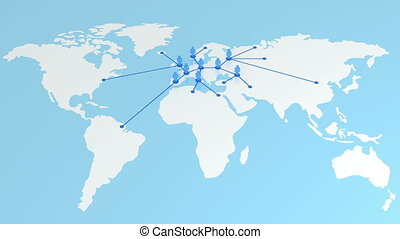 Network growing on the Earth map. Global Business Concept 3d...
