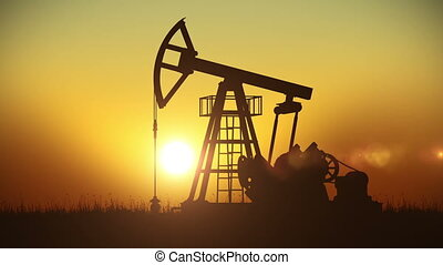 Looped animation of Oil Pump working at Sunset. Bright Sun....