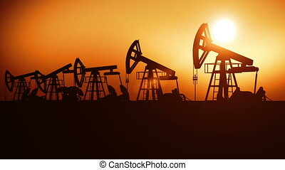 Oil Pumps in a Row at Sunset Looped 3d animation Technology...