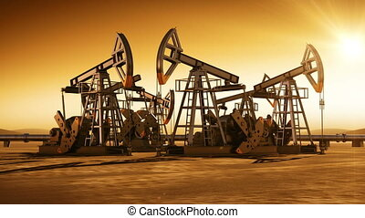 Sunset in the Desert with Oil Pumps - Sunset in the Desert...
