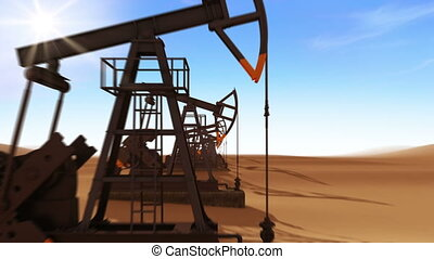 Flight Through the working Oil Pump Jacks in the desert....