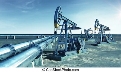 Oil Pump Jacks and Oil-Pipeline. Sun Shining in the blue...