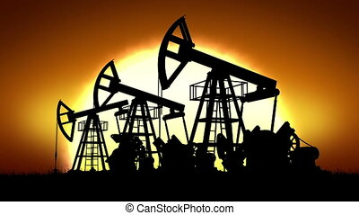 Oil Pumps and Big Sun Rising Looped 3d animation HD 1080