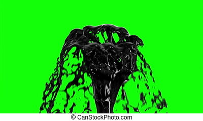 Black Oil Fountain Isolated on Green Screen Background....