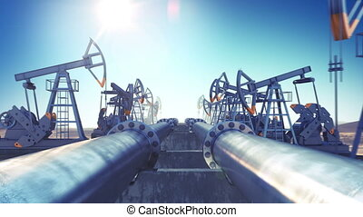 Oil Pumps and Oil Pipeline in endless motion. Looped 3d...
