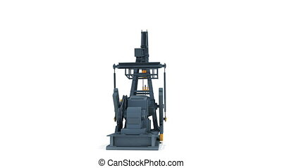 Oil Industry Pump Jack Working Isolated on White Background...