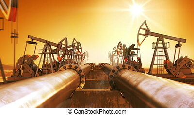 Moving at the Endless Pipeline and rows of Oil Pumps. Orange...