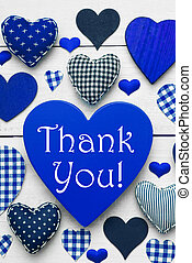 Vertical Card With Blue Heart Texture, Thank You - Blue...