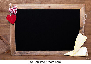 Blackboard Hearts And Copy Space