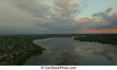 Aerial footage Clouds on Sky at Sunset. Nature Background.