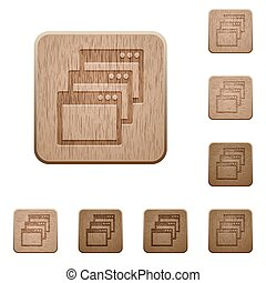 Cascade window view mode wooden buttons - Set of carved...