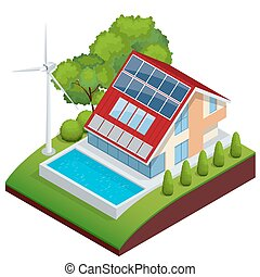 Green House vector concept. Isometric vector composition of small house with ecological equipment solar cells and wind turbine. The use of renewable energy sources. Ecosystem.