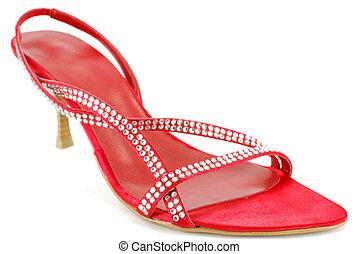 woman elegance red shoe