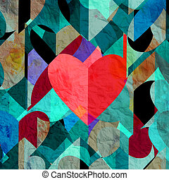 Abstract vintage watercolor heart Happy Valentines Day