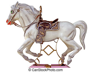 Merry-go-round horse - White merry-go-round horse - isolated...