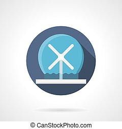 Modern fountain flat color round vector icon - Modern design...
