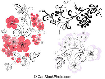 Set decorative branches with flower
