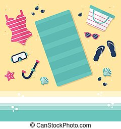 Top View of a Beach - Top view of a beach with beach towel,...
