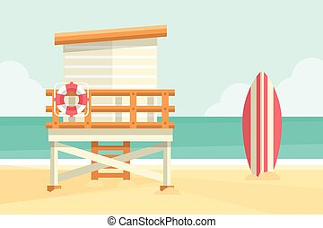 Beach Hut - Beach background with lifeguard tower and...