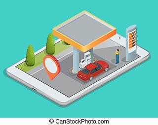 Mobile GPS navigation, gas station concept. View a map on...