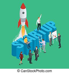 Startup flat 3d isometric style technology business concept web infographics vector illustration. Team working on spaceship launch start up and big word. Creative people collection