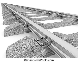 Illustration of a straight railroad track isolated - 3D...