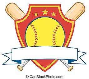 Softball Over Logo Design Label