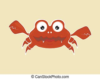 funny cute cartoon angry crab vector illustration