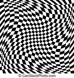 Checkered pattern with spiral, twirl, swirl distortion...