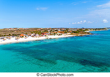 Aerial from Boca Catalina on Aruba island in the Caribbean...
