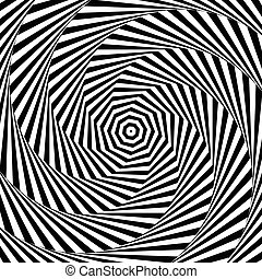 Uncolored, grayscale radiating shape with spirally, vortex...