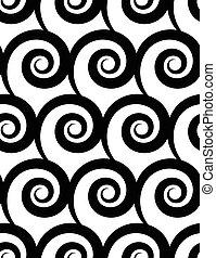 Seamless pattern with spiral Monochrome repeatable pattern