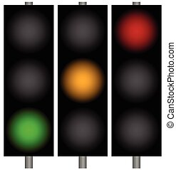 Traffic lights, traffic lamps, semaphors Simple illustration...