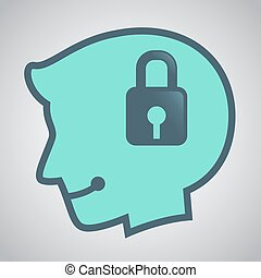 Silhouette of Human Head With Padlock Icon Inside