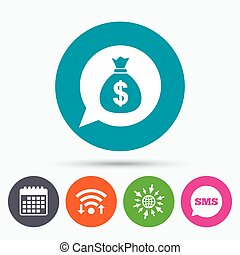 Money bag sign icon. Dollar USD currency. - Wifi, Sms and...