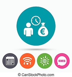 Bank loans sign icon. Get money fast symbol. - Wifi, Sms and...