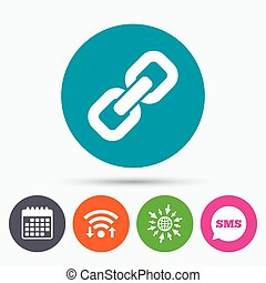 Link sign icon Hyperlink symbol - Wifi, Sms and calendar...