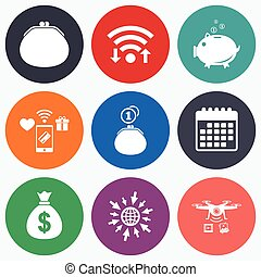 Money bag icons Wallet and piggy bank symbols - Wifi, mobile...