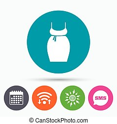 Pregnant woman dress sign icon Maternity symbol - Wifi, Sms...