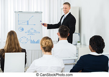Businessman Explaining Business Chart To His Colleagues -...