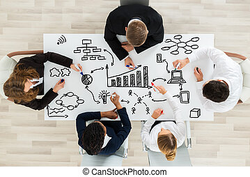 Businesspeople Making Various Business Chart - High Angle...