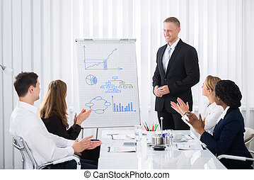 Businesspeople Clapping After Presentation - Group Of...
