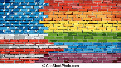 Brick Wall USA and Gay flags - Illustration, Rainbow flag on...