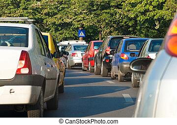Rush Hour Congestion - Traffic jam in capital of Romania,...