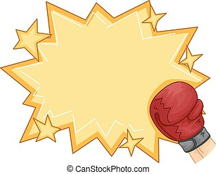 Gloves Pow Knock Out Frame - Frame Illustration Featuring a...