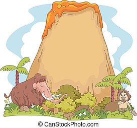 Caveman Mammoth Volcano Copyspace - Illustration Featuring a...