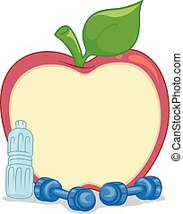 Fitness Dumbbell Apple Board - Illustration Featuring an...