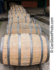 Row of Barrels Rolling Vertical - Row of Barrels Rolling n a...