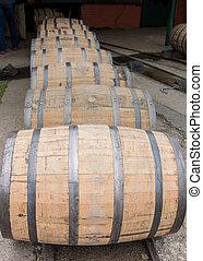 Row of Barrels Rolling Vertical - Row of Barrels Rolling n a...